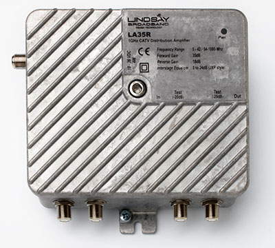 Lindsay's compact multiple dwelling  unit broadband distribution amplifier  is a full featured two-way 1.2GHz indoor  station capable of 44dBmV
